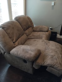 Brown suede 2-seat sofa & love seat