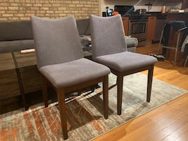 Grey Upholstered Dining Chairs, Set of 2, $60