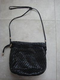 Black genuine leather handbag