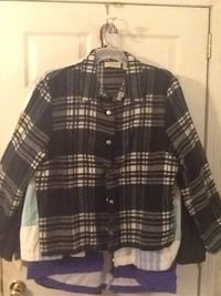 black and white plaid button up jacket Lamar, 29069