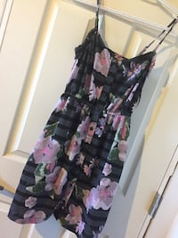 women's black and pink floral sleeveless dress Macdonald, R0G 0A2