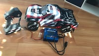 Black, white, and red radio controlled truck Trinity, 34655