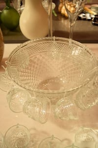 Large Punch Bowl with 18 glasses White Rock