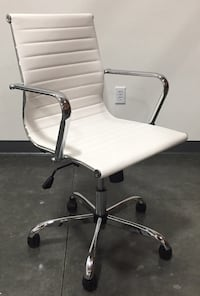 New in box $55 each mid back PU leather ribbed executive modern contemporary office chair 3 colors 2265 mi