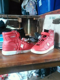 pair of red parish high-top sneakers Clinton, 73601