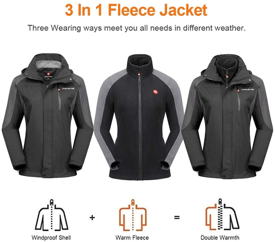 Detachable Hooded Windbreaker with Inner Warm Fleece Coat for Hiking Snowboard qualidyne Mens Ski Jacket 3 in 1 Windproof Waterproof Winter Jacket