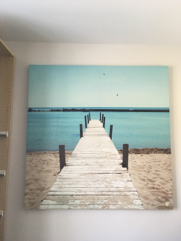 Gray dock near body of water during daytime wall decoration