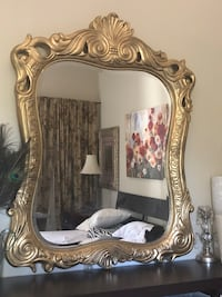 "50""X40"" X Large Antique gold solid Wood very heavy mirror"