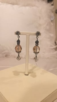 pair of silver and white earrings North Vancouver, V7R 3W8