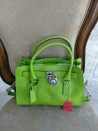 green Michael Kors leather 2-way handbag