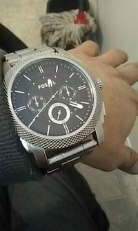 round silver-colored chronograph watch with link bracelet Edmonton, T5J 4Y8