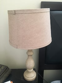 white ceramic base table lamp with beige lampshade