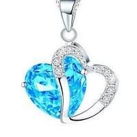 Instom Women's Elegant Style Rhinestone Heart Shape Pendant Clavicle Chain Necklace Palm Coast