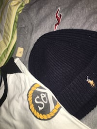 Polo beanie, Hollister t shirt and social experiment shirt