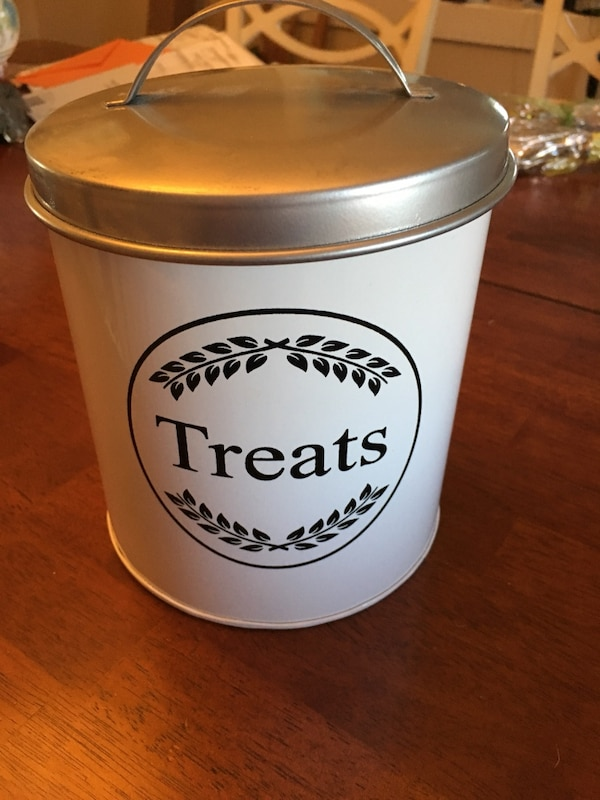 Metal dog treat canister