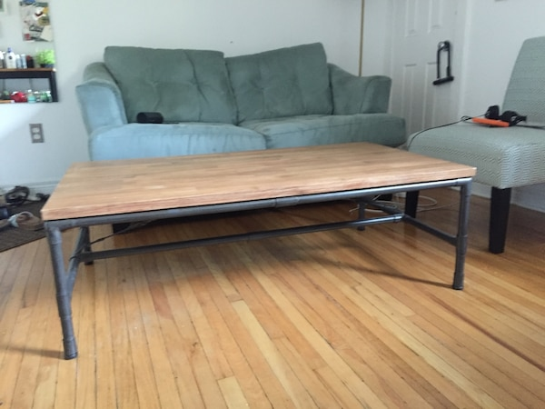 Coffee table industrial design pipe legs and wood