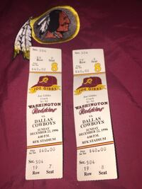 Vintage 1996 Redskins vs Cowboys Tickets  McLean, 22102