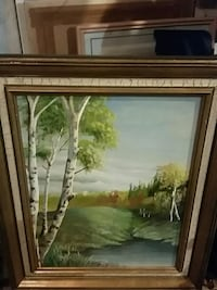 brown wooden framed painting of house Hamilton
