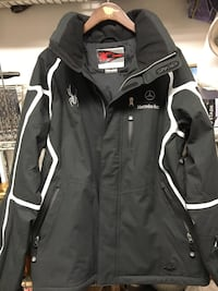 Spyder Mercedes Benz Black and white zip-up snowboard jacket