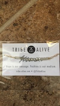tribe alive white and gold beaded chain necklace Dittmer, 63023