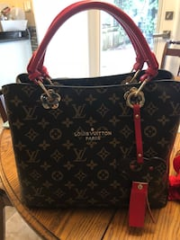 Black and brown monogram louis vuitton leather tote bag