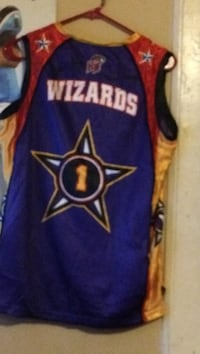 Blue and yellow wizards jersey shirt it's signed Mooresville, 28115