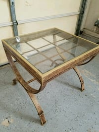 brown wooden framed glass top table Toms River