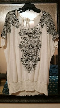 white and black floral scoop-neck shirt Brownsville
