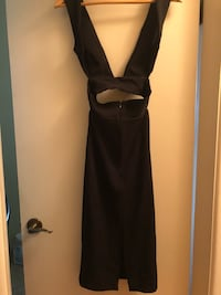 Midi dress Solace London sexy middrift and back showing Vancouver, V6P