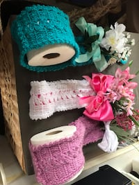 Two white and pink knit caps Burlington, 52601