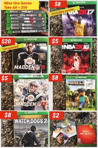 7 assorted XBoxONE games Buford, 30518