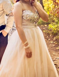 Champagne colored Ball Gown from David's Bridal Calgary, T2J 6H9