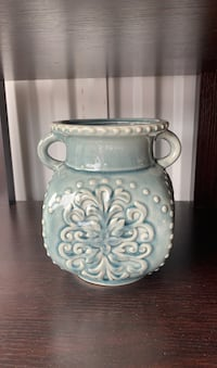 Mint colored flower vase