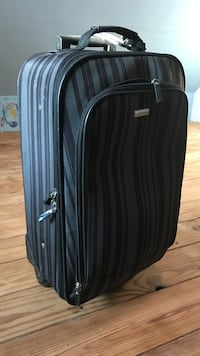 Black and gray stripe soft side luggage Brewster, 10509