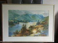 Framed original watercolor painting Mountain and River View 科奎特兰