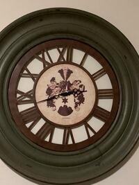 Round olive green & brown wooden framed analog wall clock