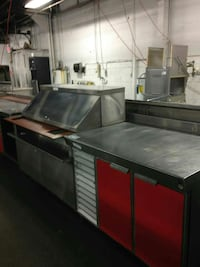 stainless steel kitchen table and food display