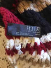 White, black, and red knit scarf 100% acrylic brand new Lodi