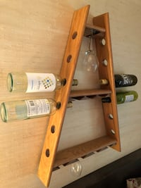 Unique, hand crafted 12 bottle and 8 glass wood (maple) wine rack. Toronto, M3A