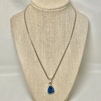 Sterling Silver Dichroic Glass Pendant with Sterling Silver Ball Chain