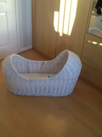 Baby's white wicker crib with two mattresses and liner. Baby harness included. Kingswinford, DY6 7AG