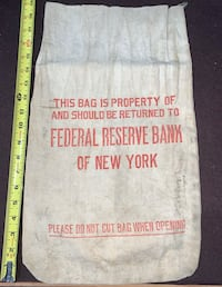 Antique Federal Reserve Bank of New York money bag