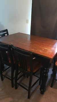 Brown and black wooden table set