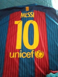blue and red Messi 10 Unicef soccer jersey Milano, 20157