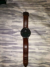 round black analog watch with brown leather strap Toronto
