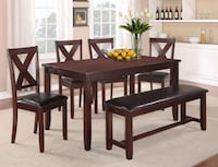 New In Box- 6 Pc Dining Set with 4 chairs and Bench  Houston, 77077