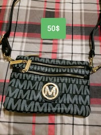 monogrammed black and gray Michael Kors leather crossbody bag 2663 km