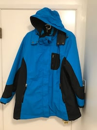 blue and black jacket with hood