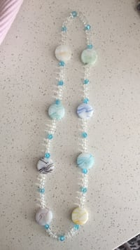 white and blue beaded necklace Severn, L3V