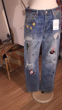 (negotiable) Austin&Nashville limited edition 501 levis embroidered distressed jeans 551 km